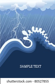 Storm in ocean with big wave.Vector illustration