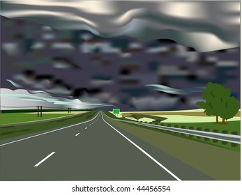 Storm on the Horizon with Interstate Highway and Sign with Copy Space.