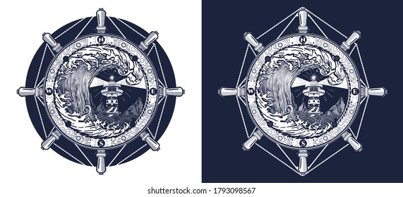 Storm tattoo art and t-shirt design. Steering wheel, lighthouse, compass and big wave. Sea adventure. Black and white vector graphics