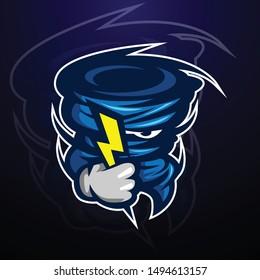 storm tornado mascot character illustration logo concept