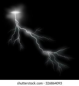Storm vector lightning bolt on black background