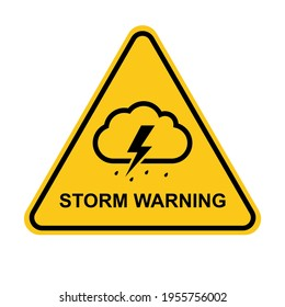 Storm warning. Yellow warning sign of the storm. Storm ahead. Bad weather, hurricane, thunderstorm, storm, squall wind. Vector illustration.