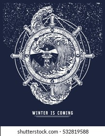Storm in the winter sea, tattoo art. Slogan winter is coming. Steering wheel ship t-shirt design. Lighthouse, winter cold sea storm art poster