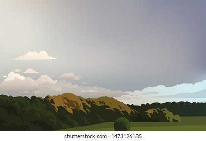 Stormy gray sky. Vector illustration with forest and sky.