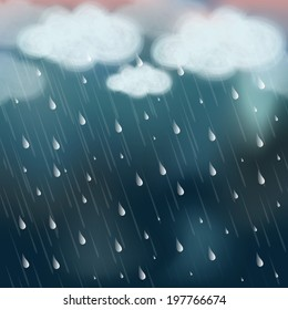 Stormy weather background with raining.
