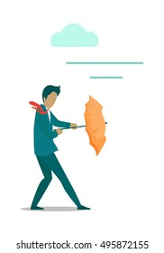 Stormy weather or barriers in business vector. Flat design. Man in business suit with umbrella in hands resisting strong wind. Difficult moving forward. For weather, climate or business concepts