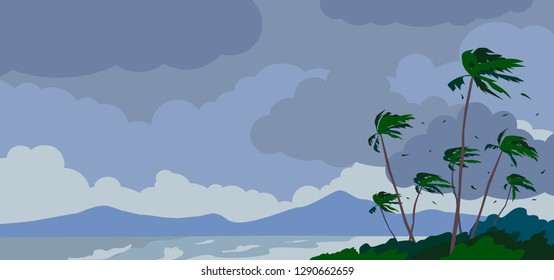 stormy weather landscape with palms sea waves mountain cloudy sky