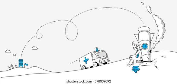 Story of bad start with business man sitting by crashed rocket. Modern website banner illustration in linear style.