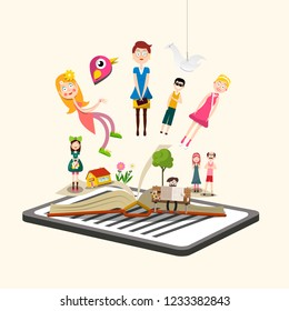 Story Characters on Book. E-book Reader Vector Illustration.