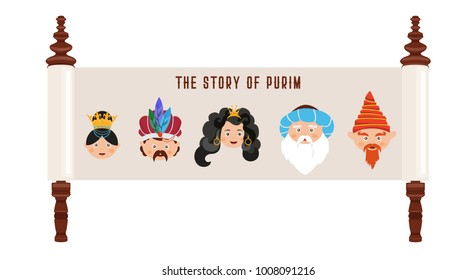the story of Purim with traditional characters. Jewish ancient scroll. banner template . vector illustration