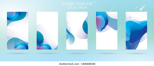 story social media with wave liquid and gradient splashes collection for , can use for sale banner background, photo, summer sale , website, mobile app, poster, flyer, coupon, gift card - Vector