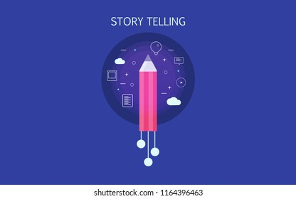 Story telling, writing content for business customers, copy writer flat design vector with icons