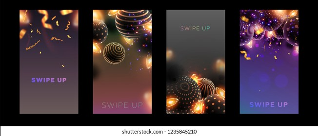 Story templates set for Christmas and New Year backgrounds with swipe up buttons. Xmas decorations, ball spheres with holiday patterns. Eps10 vector illustration