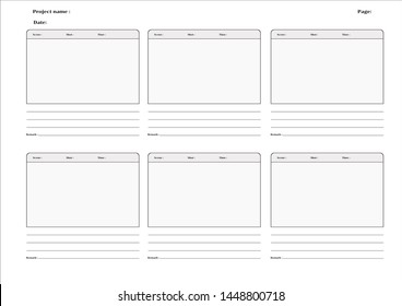Storyboard layout for film or animation on white background.