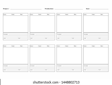 Storyboard template isolated on white background.