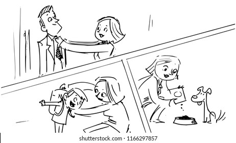 storyboard in which a lady is tying her husband's tie, helps the child to put on a school backpack and give food to the dog,illustration of a vector sketch from a cartoon storyboard project