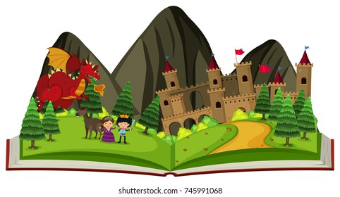 Storybook with dragon at the castle illustration