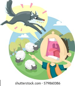 Storybook Illustration Featuring the Classic Fable of The Boy Who Cried Wolf