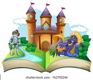Storybook with knight and dragon illustration