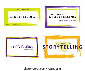 Storytelling frames. Simple logos on white background. Vector illustration.