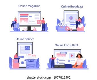 Storytelling online service or platform set. Professional speechwriter or journalist. Copywriter creating text for media. Online magazine, consultant, broadcast. Flat vector illustration