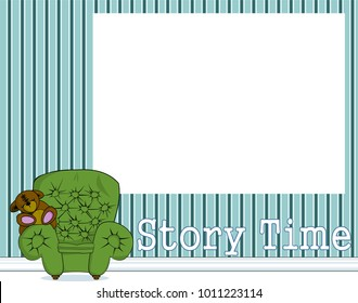 Storytime sign banner with big armchair and teddy bear