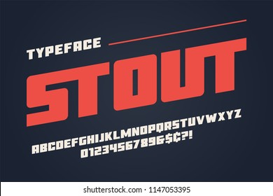 The Stout heavy display font design, alphabet, typeface, letters and numbers, typography.
