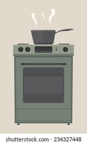 Stove with cooking pot. EPS8.