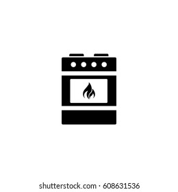 stove with fire vector icon