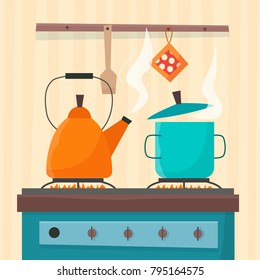 Stove in kitchen. Oven with dishes: pan pot kettle. Flat  cartoon style vector illustration.