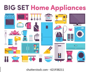stove, refrigerator, air conditioner, microwave oven, slow cooker, TV, toaster, teapot, blender, grater, mixer, pots, dishes, tableware, water heater, wardrobe, coffee maker, heater, cleaner, iron