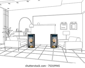 The stove in the room