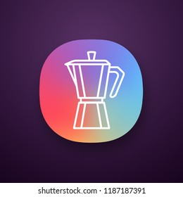 Stove top coffee maker app icon. Coffeemaker. Espresso maker. UI/UX user interface. Web or mobile application. Vector isolated illustration