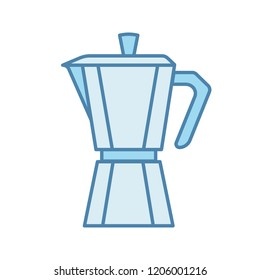 Stove top coffee maker color icon. Coffeemaker. Espresso maker. Isolated vector illustration