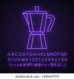 Stove top coffee maker neon light icon. Coffeemaker. Espresso maker. Glowing sign with alphabet, numbers and symbols. Vector isolated illustration
