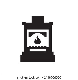 Stove vector icon, Iron wood burning stove.