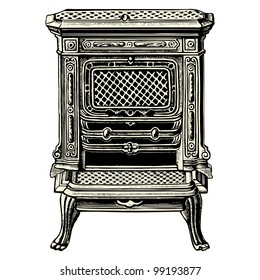 Stove - vintage engraved illustration - Catalog of a French department store - Paris 1909