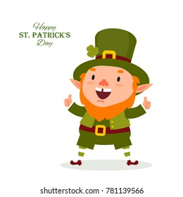 St.Patrick 's Day. Leprechaun, the traditional national character of Irish folklore. Element of the set of leprechauns 01. Festive collection. Isolated on white background.