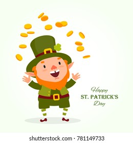 St.Patrick 's Day. Leprechaun, the traditional national character of Irish folklore, juggles with gold coins. Element of the set of leprechauns 02. Festive collection. Isolated on white background.