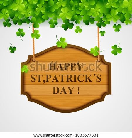St Patricks Day Background Wooden Sign Vector Stock Vector Royalty