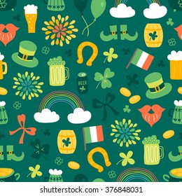 St.Patrick's Day seamless pattern with clover, rainbow, horseshoe, beer, Irish flag, coins, firework, leprechaun hat, shoes, barrel of beer, bow. Perfect for wallpapers, gift papers, patterns fills