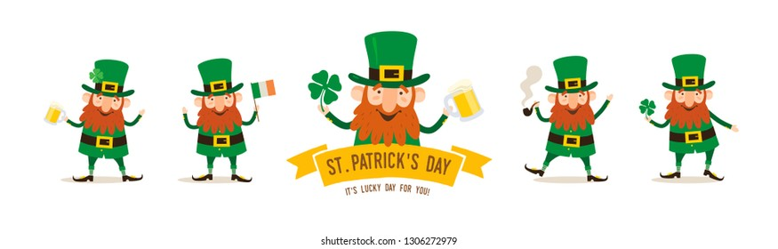 St.Patrick's Day. A set of funny cartoon Leprechauns with attributes of the Irish holiday: a flag, a beer mug, a clover leaf, a smoking pipe on a white background. Festive vector illustration.