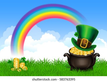 St.Patrick's Day symbols-Pot Of Gold and leprechaun hat. St.Patrick's Day background, Magical Treasure. Vector illustration