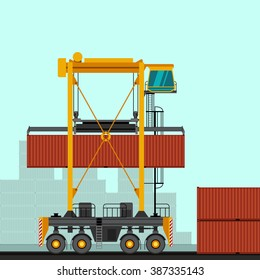 Straddle carrier with container industrial crane. Side view crane vector illustration