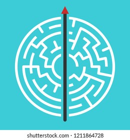 Straight arrow going right through maze. Simple straightforward solution, creativity, strength, obstinacy, decision and courage concept. Flat design. Vector illustration, no transparency, no gradients