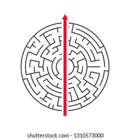 Straight arrow going right through maze on white background.