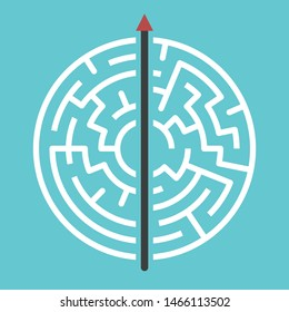 Straight arrow going right through maze on turquoise blue. Simple straightforward solution, creativity, strength, obstinacy, decision and courage concept. Flat design. Eps 8 vector illustration