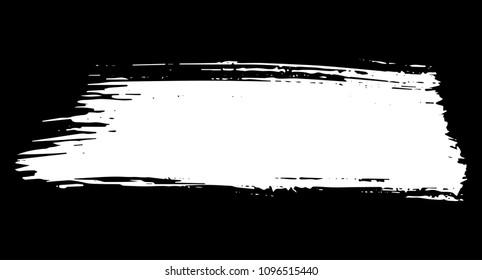Straight artistic grunge brush paint stroke in white isolated over black background. Design element vector illustration.