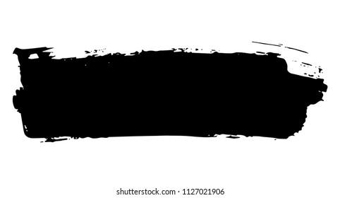 Straight artistic grunge brush paint stroke in black isolated over white background. Design element vector illustration.