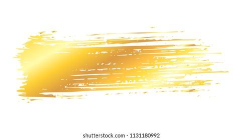 Straight artistic grunge golden brush paint stroke isolated over white background. Metal shiny gold design element vector illustration.
